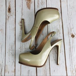 Steve Madden Stacie Gold Patent Leather Heels